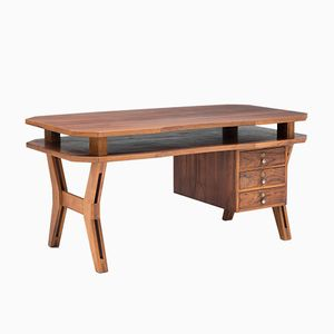Italian Curved Rosewood Desk, 1960s