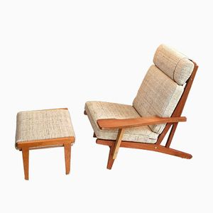 Danish GE 375 Teak Lounge Chair & Ottoman by Hans J. Wegner for Getama, 1960s