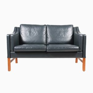 Danish Dark Blue Leather Two-Seater Sofa by Takashi Okamura & Erik Marquardsen for Skipper, 1980s