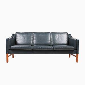 Danish Dark Blue Leather Tree-Seater Sofa by Takashi Okamura & Erik Marquardsen for Skipper, 1980s