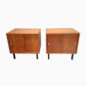Oak Bedside Tables, 1950s, Set of 2