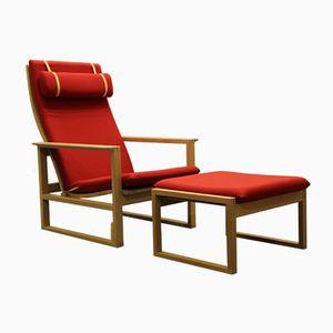 BM 2254 Sessel & 2248 Fußhocker von Børge Mogensen für Fredericia Stolefabrik, 1950er