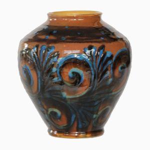 Vase Vintage Marron et Bleu en Céramique de Kähler