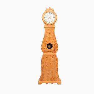 Horloge de Grand-Père Blanche et Dorée, Suède, 1950s