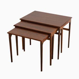 Vintage Danish Nesting Side Tables in Rosewood