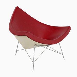 Roter Vintage Leder Coconut Stuhl von George Nelson für Vitra