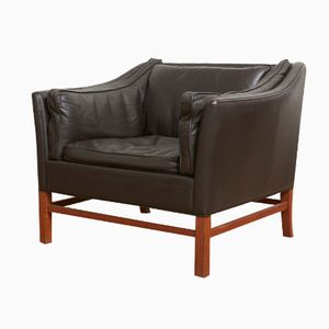 Danish Modern Brown Leather Lounge Chair by Børge Mogensen, 1963