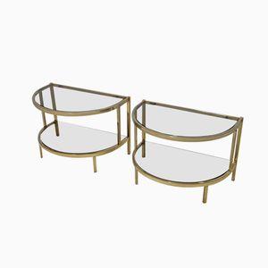 Tables d'Appoint Vintage Semi-Circulaire Dorée, Set de 2