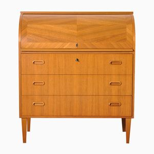 Mid-Century Swedish Roll-Top Teak Secretary