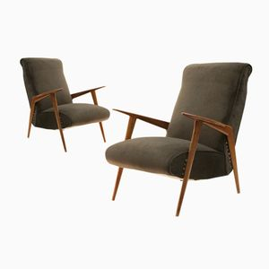 Grey Italian Velvet Armchairs, 1950s, Set of 2