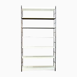 Large Industrial White Metal Bookcase, 1960s