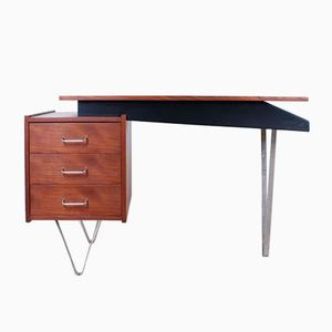 Teak Writing Desk with Hairpin Legs by Cees Braakman for Pastoe, 1950s