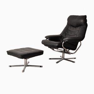 Norwegian Black Leather Recliner Chair & Ottoman from Skog Haug Industri, 1960s