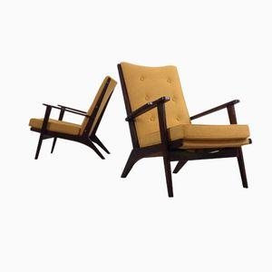 fauteuils marrons en velours de parker knoll 1950s set. Black Bedroom Furniture Sets. Home Design Ideas