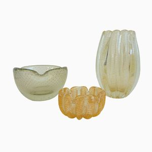 Murano Glass Vases from Seguso / Barovier & Toso, 1950s, Set of 3