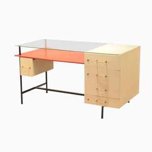 French Constructivist Wood, Metal, & Glass Writing Desk, 1950s