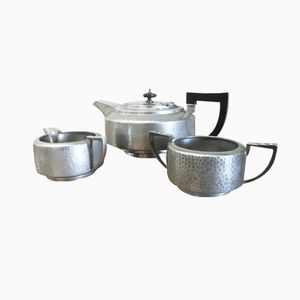 Art Deco Pewter Tea Set, 1940s