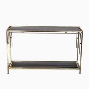 French Brass Console Table by Guy Lefevre, 1970s