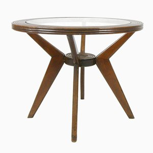 Round Italian Wood & Glass Coffee Table, 1950s