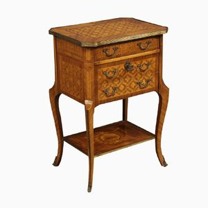 French Inlaid Night Stand with Gilded Bronzes, 1950s