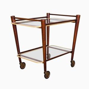 Teak Trolley with Two Glass Tops by Cees Braakman for Pastoe, 1950s