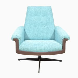 Vintage Blue Swivel Armchair, 1970s