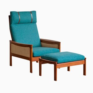Danish High Back Lounge Chair & Ottoman, 1960s