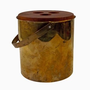 Mid-Century Brass & Teak Cylinda-Line Ice Bucket by Arne Jacobsen for Stelton, 1960s