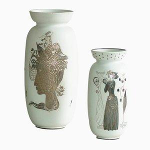 Swedish Grazia Vases by Stig Lindberg for Gustavsberg, 1940s, Set of 2