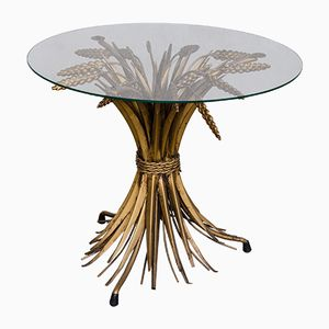 Vintage French Brass and Glass Wheat Sheaf Side Table