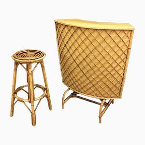 Vintage Bamboo Tiki Bar with Stool, 1950s