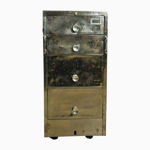 Cassettiera vintage in acciaio inossidabile su ruote