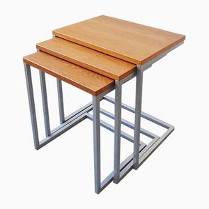 Danish Industrial Teak & Metal Nesting Tables, 1960s