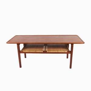 AT-10 Solid Teak Coffee Table with Cane Shelf by Hans J. Wegner for Andreas Tuck, 1955