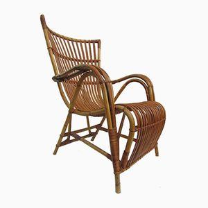 Vintage Rattan Lounge Chair by Dirk van Sliedregt for Jonkers