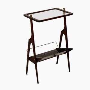 Porte-Revues Vintage en Acajou, Verre et en Laiton avec Table d'Appoint