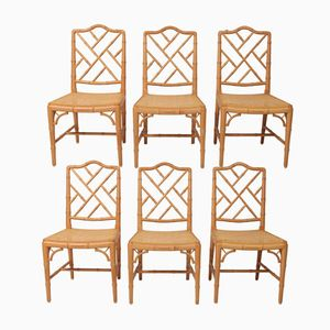 French Bamboo Dining Chairs, 1980s, Set of 6