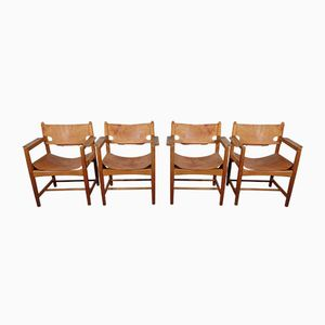 Mid-Century Model 3238 Oak Leather Chairs by Borge Mogensen for Fredericia, Set of 4