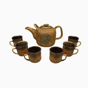 Danish Ceramic Tea Set by Godtfrid, 1970s