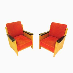 Vintage Art Deco Easy Chairs by Coen de Jong for J.A. Boskamp Overveen, Set of 2