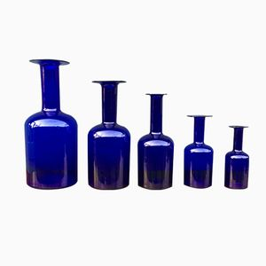 Blue Gulvases by Otto Bauer for Holmegaard, 1960s, Set of 5