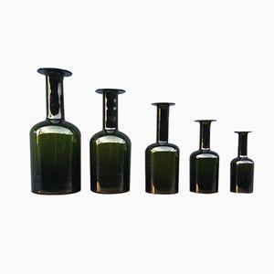 Grüne Vasen von Otto Bauer für Kastrup / Holmegaard, 1960er, 5er Set