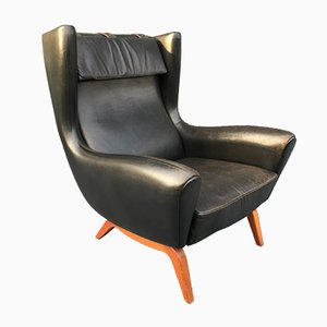 Black Leather Lounge Chair by Illum Wikkelsø for Søren Willadsen Møbelfabrik, 1950s