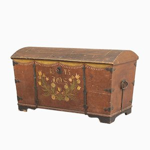 Antique Swedish Painted Chest, 1845
