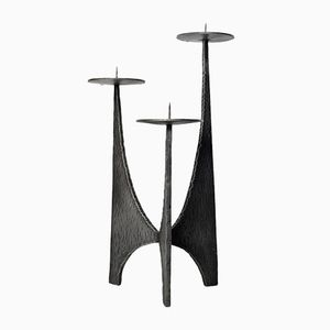 Brutalist Wrought Iron Candlestick Holder, 1950s