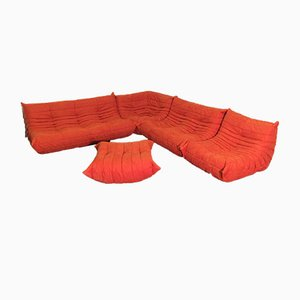 Orange Microfibre Togo Sofa Set by Michel Ducaroy for Ligne Roset, 1974