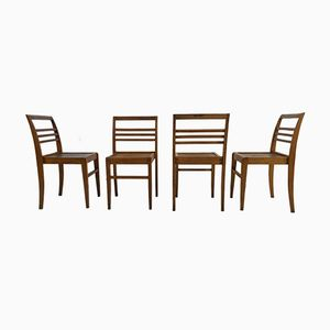 Beech Stacking Chairs by René Gabriel, 1950s, Set of 4