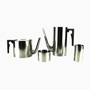 Vintage Cylinda-Line Coffee and Tea Set by Arne Jacobsen for Stelton