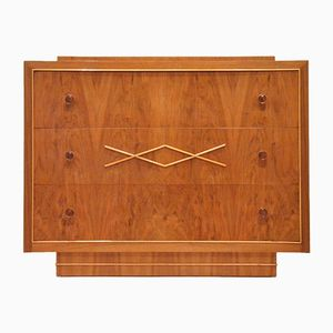 Belgian Art Deco Walnut Chest of Drawers from De Coene Frères, 1940s