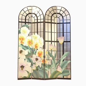 Multicolor Painted French Floral Room Divider, 1960s